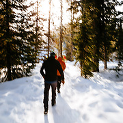 Clients walk to a waterfall in Yellowstone National Park.