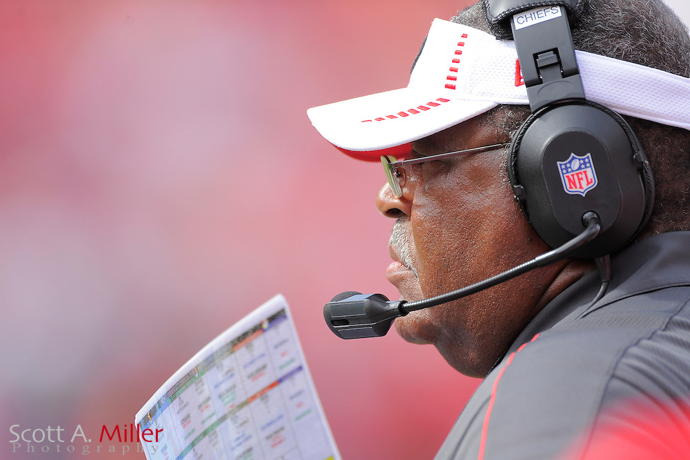 Kansas City Chiefs head coach Romeo Crennel during the Chiefs 38-10 loss to the Tampa Bay Buccaneers at Raymond James Stadium  on Oct. 14, 2012 in Tampa, Florida. The Bucs won38-10...(SPECIAL TO FOXSPORTS.COM/Scott A. Miller)...