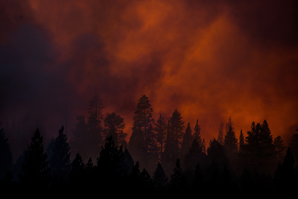 Sunset on the Rim Fire near Buck Meadows, California, August 22, 2013. The Rim Fire burned 257,314 acres and is the third largest wildfire in California history.