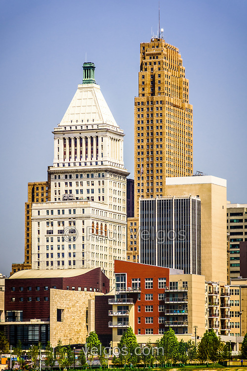 Photo of downtown Cincinnati buildings with PNC Tower building and Carew Tower building. Photo is vertical, high resolution and was taken in July 2012