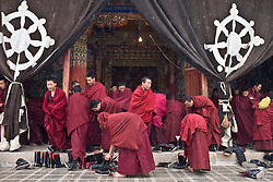Tibet New Year - China - Edward Wong<br /> Monks leave after morning prayer at Rongwo monastery  (Longwu in Chinese) on Tibetan New Year's Day in Rebkong (Tongren in Chinese), Qinghai province in China, February 25, 2009. Photo by Shiho Fukada for The New York Times
