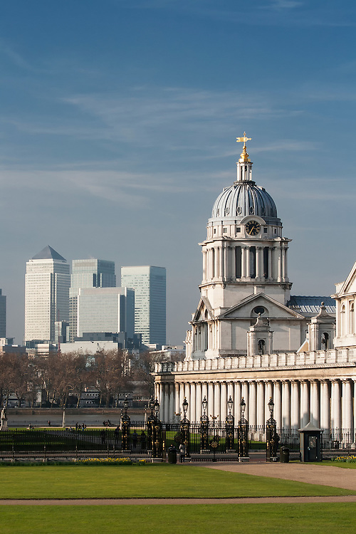 The Royal Naval College with Canary Wharf in the backgrond