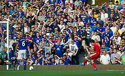 LIVERPOOL, ENGLAND - Saturday, October 1, 2011: Liverpool's Luis Alberto Suarez Diaz scores the second goal against Everton during the Premiership match at Goodison Park. (Pic by David Rawcliffe/Propaganda)