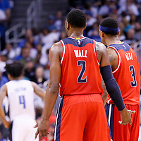 28 October 2015: Washington Wizards guard John Wall (2) is seen next to Washington Wizards guard Bradley Beal (3) during the Washington Wizards 88-87 victory over the Orlando Magic, at the Amway Center, in Orlando, Florida, USA.
