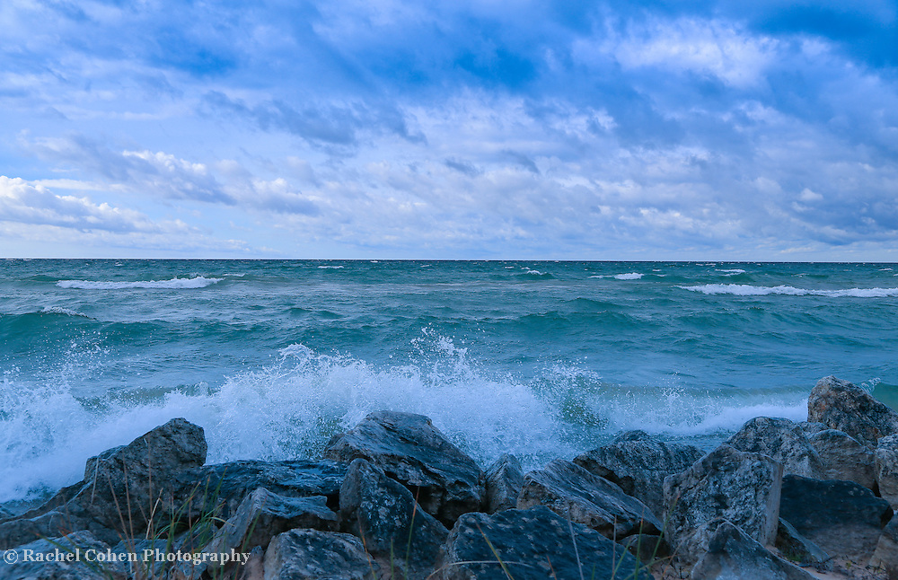 &quot;Morning Waves a Crashing 2&quot;<br /> <br /> Waves crash against the rocky shores of Lake Michigan near St. Ignace Michigan in the Upper Peninsula!