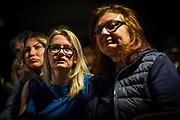 Frankfurt | 16 April 2017<br /> <br /> Aktivisten der Hayir-Initiative trafen sich am Abend des Verfassungsreferendums in der T&uuml;rkei im G&uuml;nes-Theater in Frankfurt am Main, um gemeinsam die Berichterstattung der Medien zum Referendum zu beobachten und das Ergebnis abzuwarten.<br /> Hier: Teilnehmerinnen der Veranstaltung warten gespannt auf das Ergebnis des Referendums.<br /> <br /> photo &copy; peter-juelich.com<br /> <br /> Abdruck honorarpflichtig!<br /> No Model Release!<br /> No Property Release!