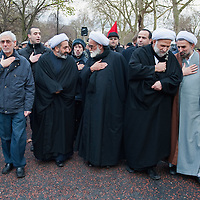 LONDON, ENGLAND - DECEMBER 27:  Shia Muslim clerics take part in the Ashura procession from Marble Arch to Holland Park Mosque on December 27, 2009 in London, England. Ashura is a 10 day period of mourning for Imam Hussein, the seven-century grandson of Prophet Mohammad who was killed in a battle in Karbala in Iraq, in 680 AD.  (Photo by Marco Secchi/Getty Images)