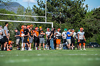 KELOWNA, BC - MAY 10:  Prospective players attend the BCFC Okanagan Sun Spring Training camp at the Apple Bowl on May 10, 2019 in Kelowna, Canada. (Photo by Marissa Baecker/Shoot the Breeze)