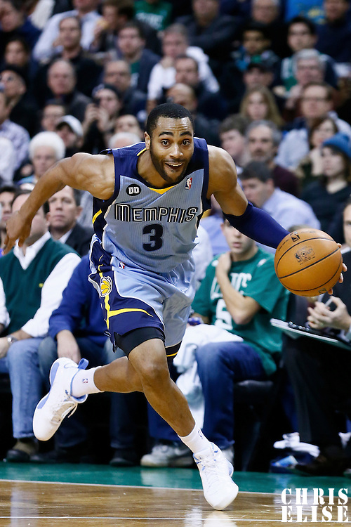 02 January 2013: Memphis Grizzlies shooting guard Wayne Ellington (3) goes to the basket during the Memphis Grizzlies 93-83 victory over the Boston Celtics at the TD Garden, Boston, Massachusetts, USA.