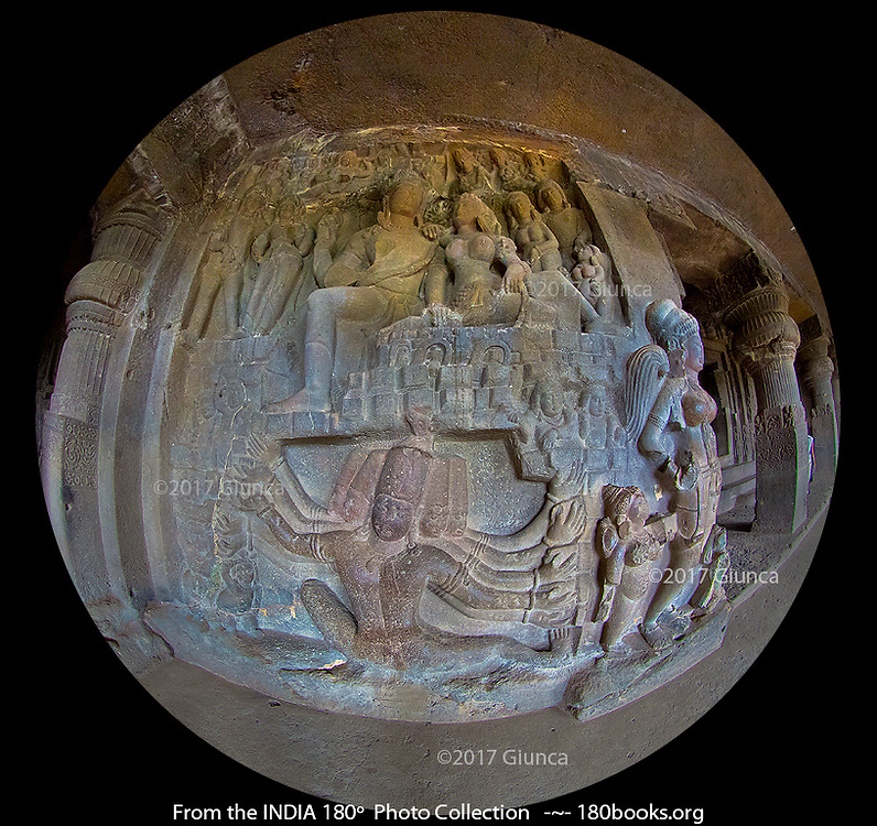 A beautifully aged stone carving of Ravana Shaking Mount Kailash in the Ellora Caves which are a UNESCO World Heritage Site in Maharashtra