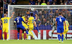 **Caption correction** Islam Slimani of Leicester City fires a header at goal   - Mandatory by-line: Matt McNulty/JMP - 27/09/2016 - FOOTBALL - King Power Stadium - Leicester, England - Leicester City v FC Porto - UEFA Champions League
