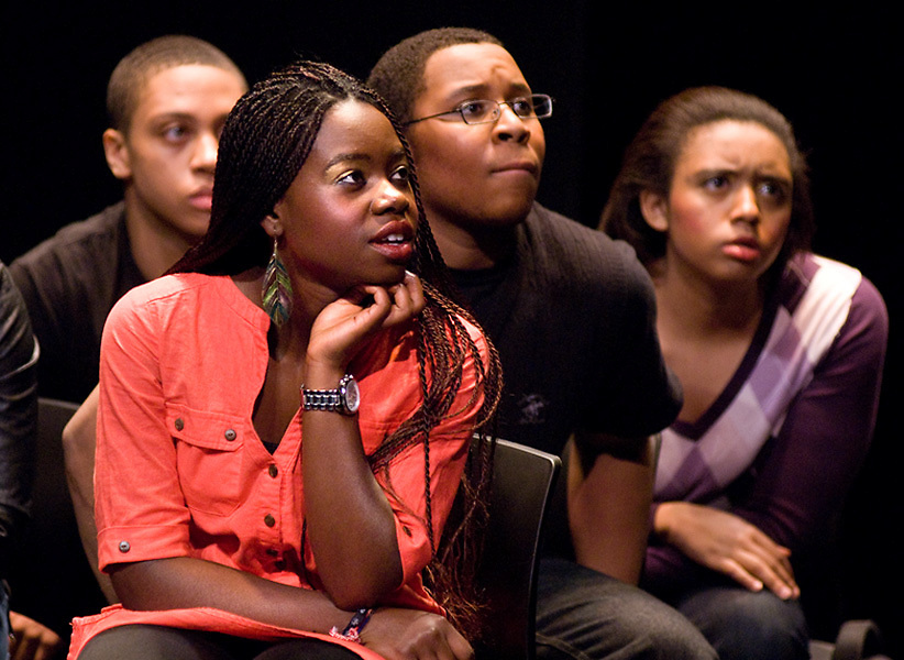 """LEST WE FORGET -- Students from Washington University in St. Louis perform a scene from Black Anthology 2012 """"Lest We Forget"""" at Edison Theatre on the Danforth Campus in St. Louis Friday, Feb. 3, 2012. Photo by Sid Hastings © copyright 2012 Washington University in St. Louis."""