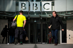© Licensed to London News Pictures. 25/02/2016. London, UK. General view of the front entrance to BBC Broadcasting House in London where a report in to abuse by DJ Jimmy Savile has been released. The Dame Janet Smith review found that the BBC repeatedly failed to stop abuse by DJ Jimmy Savile and broadcaster Stuart Hall. Photo credit: Ben Cawthra/LNP