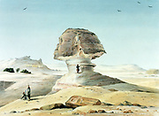 The Great Sphinx of Giza. Watercolour. Emile Prisse d'Avennes (1807-1879) French architect,  engineer and orientalist. Ancient Eyptian statue of mythical figure of lion with human head, Fourth Dynasty (1723-1563 BC). Archaeology