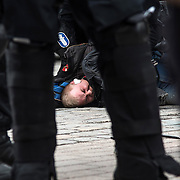 Anarchist taken into custody during a demonstration in Tampere / Lehtikuva 2016