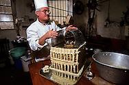 France. Lyon . Vautaret; traditional pork butcher   Lyon  France     /  charcutier Vautaret realise maquette l'opera en saindoux  Lyon  France    /      L931120c  /  R1063  /  P116672