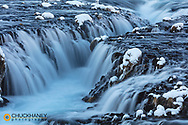 Bruarafoss waterfall in winter in southwestern Iceland