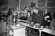 26/09/1962<br /> 09/26/1962<br /> 26 September 1962<br /> Opening of Earl Bottlers Ltd. at South Earl Street, Dublin. Minister for Justice Charles Haughey opened the new premises. Mr Haughey (right) inspecting the new plant after the opening accompanied by Mr W. Campbell, Director of Earl Bottlers. Miss Ann Moran of Dublin is operating the filling machine.