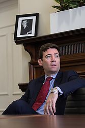 © Licensed to London News Pictures . 09/06/2016 . Manchester , UK . ANDY BURNHAM MP for Leigh and candidate for Labour's campaign for Greater Manchester Mayor , waiting in the Anthony H Wilson room ahead of a TV interview after delivering a speech on the EU referendum and security , at the Greater Manchester Chamber of Commerce at Elliot House in central Manchester . Photo credit : Joel Goodman/LNP