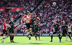 Wesley Hoedt of Southampton header hits the cross bar. - Mandatory by-line: Alex James/JMP - 13/05/2018 - FOOTBALL - St Mary's Stadium - Southampton, England - Southampton v Manchester City - Premier League