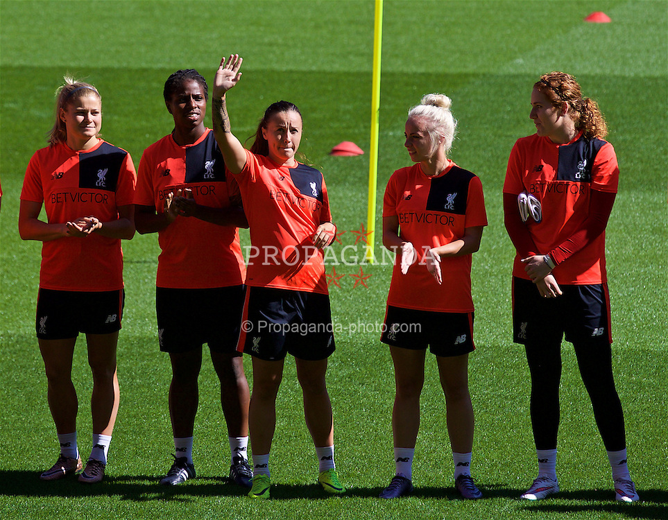 LIVERPOOL, ENGLAND - Monday, August 29, 2016: Liverpool Ladies' Natasha Harding waves as the players line-up in-front of the new Main Stand as it undergoes testing as supporters experience the newly rebuilt stand for the second time at Anfield. (Pic by David Rawcliffe/Propaganda)