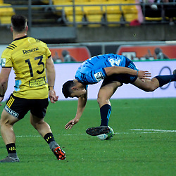Stephen Perofeta loses the ball during the Super Rugby match between the Hurricanes and Blues at Westpac Stadium in Wellington, New Zealand on Saturday, 7 July 2018. Photo: Dave Lintott / lintottphoto.co.nz