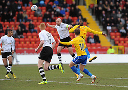 Bristol Rovers' Nathan Blissett gets a header away - Photo mandatory by-line: Neil Brookman/JMP - Mobile: 07966 386802 - 28/02/2015 - SPORT - Football - Gateshead - Gateshead International Stadium - Gateshead v Bristol Rovers - Vanarama Football Conference