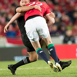 Jonathan Sexton tackled by  Aaron Cruden  during game 7 of the British and Irish Lions 2017 Tour of New Zealand, the first Test match between  The All Blacks and British and Irish Lions, Eden Park, Auckland, Saturday 24th June 2017<br /> (Photo by Kevin Booth Steve Haag Sports)<br /> <br /> Images for social media must have consent from Steve Haag