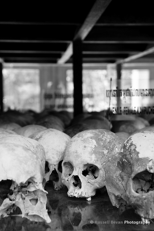 Inside The Killing Fields memorial stupa at Choeung Ek, 17 km South of Phnom Penh, Cambodia