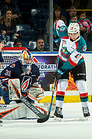 KELOWNA, CANADA - DECEMBER 29: Dylan Ferguson #31 of the Kamloops Blazers makes a save as the puck gets past Alex Swetlikoff #17 of the Kelowna Rockets during first period on December 29, 2018 at Prospera Place in Kelowna, British Columbia, Canada.  (Photo by Marissa Baecker/Shoot the Breeze)