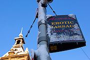 Snow hits Amsterdam: Snow covered sign for erotic massage, in Leidseplein Amsterdam, December 2010