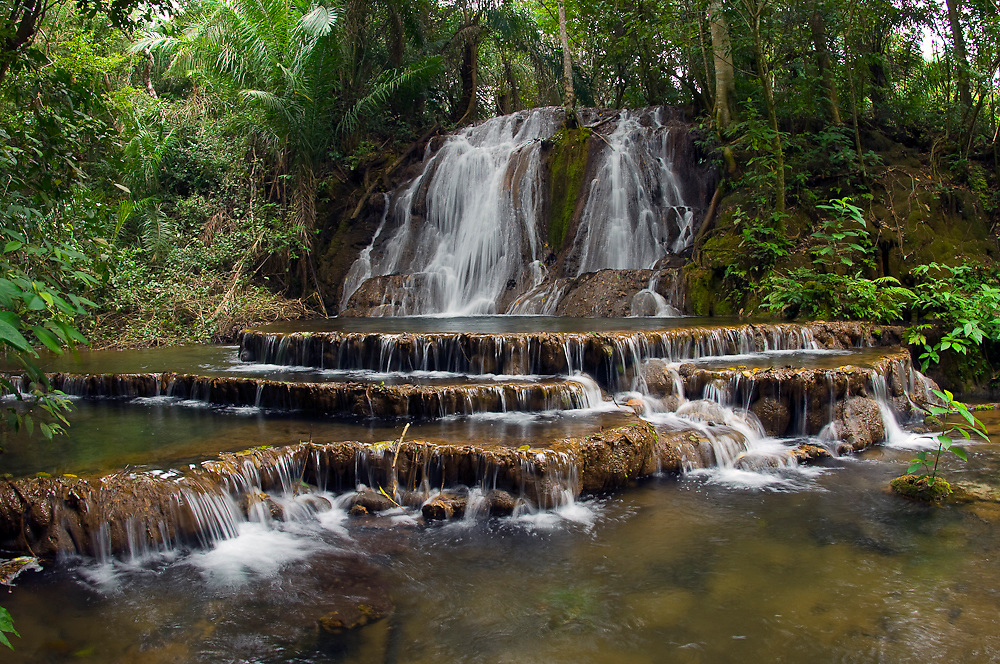 Stream and waterfall in the tropical rainforest in the state of Mato Grosso do Sul, Brazil