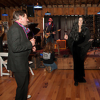 Gomez and Morticia Bob and Cindy Marcotte get on the dance floor to the Brickyard Blues band during the Monster Ball for Pitman's Freight Room on Sunday afternoon.  (Karen Bobotas/for the Laconia Daily Sun)