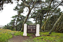 National Park Service sign for Baker Beach, Golden Gate National Recreation Area, San Francisco, California, United States of America