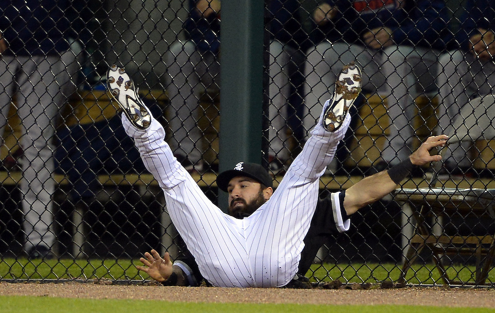 CHICAGO - MAY 05:  Adam Eaton #1 of the Chicago White Sox leaps but cannot catch the home run hit by Hanley Ramirez #13 of the Boston Red Sox in the third inning on May 5, 2016 at U.S. Cellular Field in Chicago, Illinois.  The Red Sox defeated the White Sox 7-3.  (Photo by Ron Vesely)    Subject:  Adam Eaton; Hanley Ramirez