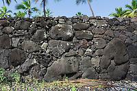 Part of the Great Wall on Hawaii, the big island at Pu'uhonua o Honaunau National Historical Park