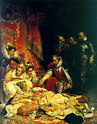 Death of Elizabeth I. Elizabeth I (1533-1603) queen of England and Ireland from 1558.  Painting by (Hippolyte) Paul Delaroche (1797-1856) French painter, 1827.