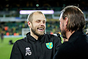 Norwich City Manager Daniel Farke celebrates with Norwich City forward Teemu Pukki (22)  after the EFL Sky Bet Championship match between Norwich City and Blackburn Rovers at Carrow Road, Norwich, England on 27 April 2019.