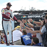 Race car driver David Ragan is seen during driver introductions prior to the 58th Annual NASCAR Daytona 500 auto race at Daytona International Speedway on Sunday, February 21, 2016 in Daytona Beach, Florida.  (Alex Menendez via AP)