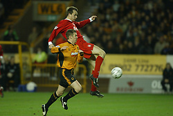 WOLVERHAMPTON, ENGLAND - Wednesday, January 21st, 2004: Liverpool's Dietmar Hamann shoots against Wolverhampton Wanderers during the Premiership match at Molineux. (Pic by David Rawcliffe/Propaganda)