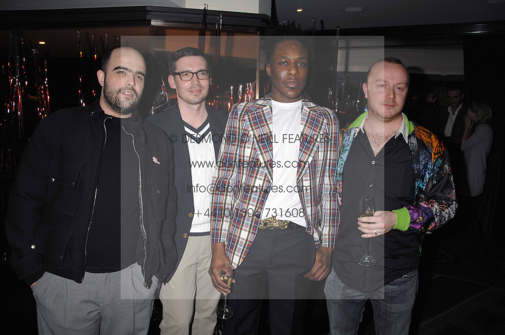 Left to right, designers BRUNO BASSO, GAVIN DOUGLAS,  ERDEM and CHRISTOPHER BROOKE at the launch of the 4th Fashion Fringe - a search to recruit the hottest, undiscovered fashion desugn talent in the UK and Ireland, held at The Bar at The Dorchester, Park Lane, London on 13th March 2007.<br /><br />NON EXCLUSIVE - WORLD RIGHTS