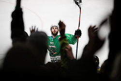Zan Jezovsek of Olimpija celebrates during Ice Hockey match between HK SZ Olimpija and EHC Alge Elastic Lustenau in Semifinal of Alps Hockey League 2018/19, on April 5, 2019, in Arena Tivoli, Ljubljana, Slovenia. Olimpija win the game and qualify to Final of AHL. Photo by Matic Klansek Velej / Sportida