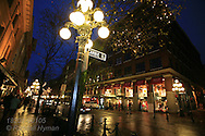 Nighttime on Water Street at Cambie in Gastown, popular tourism district of downtown Vancouver, British Columbia, Canada.