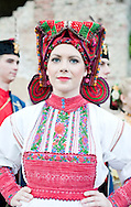 Brodsko kolo, Slavonski Brod, Croatia (9 June 2013). Young woman from Donja Kupcina in traditional folk costume. The Brodsko kolo, now in its 49th year, is the oldest folk dancing festival in Croatia.