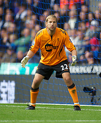 BOLTON, ENGLAND - Sunday, September 26, 2010: Bolton Wanderers' goalkeeper Jussi Jaaskelainen in action against Manchester United during the Premiership match at the Reebok Stadium. (Photo by David Rawcliffe/Propaganda)