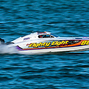 Eighty Eight (88), hits the gas on the straight, Outboard Engine Class, Offshore Superboat Championships, Coffs Harbour, New South Wales, Australia