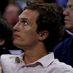 December 15, 2010; Hollywood actor Matthew McConaughey watches courtside during a game between the Sacramento Kings and the New Orleans Hornets at the New Orleans Arena. Mandatory Credit: Derick E. Hingle
