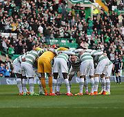 Scott Brown talks to the Celtic starting eleven in the pre-match huddle -  Celtic v Dundee - SPFL Premiership at Celtic Park<br /> <br /> <br />  - &copy; David Young - www.davidyoungphoto.co.uk - email: davidyoungphoto@gmail.com