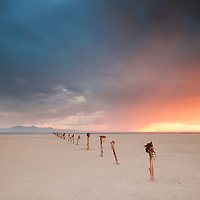 Sunset along and old wooden pier on the Great Salt Lake, UT.