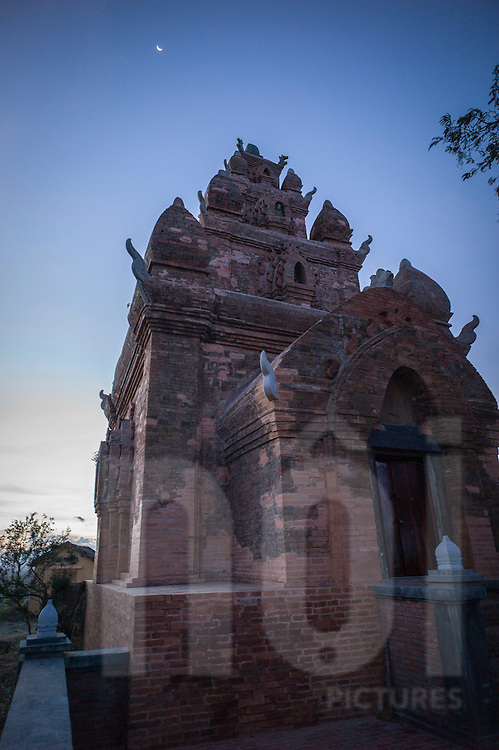 Po Rome Tower, 25 km eastwest of Phan Rang - Thap Cham city, is an ancient but undamaged tower built on a hilltop of Hau Sanh village in honor of King Po Rome, Phuoc Huu commune, Ninh Phuoc province, Southern Vietnam, Southeast Asia